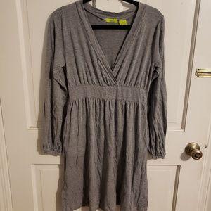 crossover v neck dress